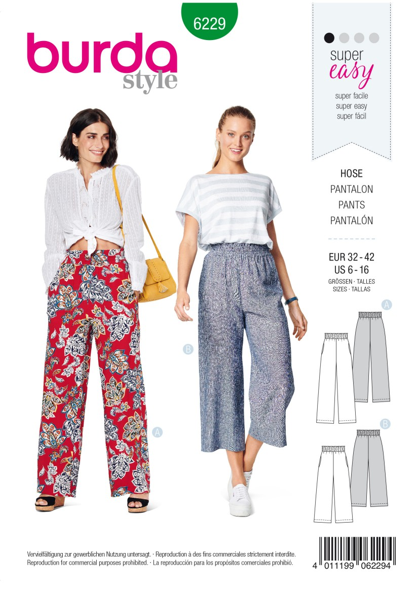 Burda Style Pattern 6229 Misses' Trousers/Pants with Elastic Waist with Pockets in Seams – Wide Leg