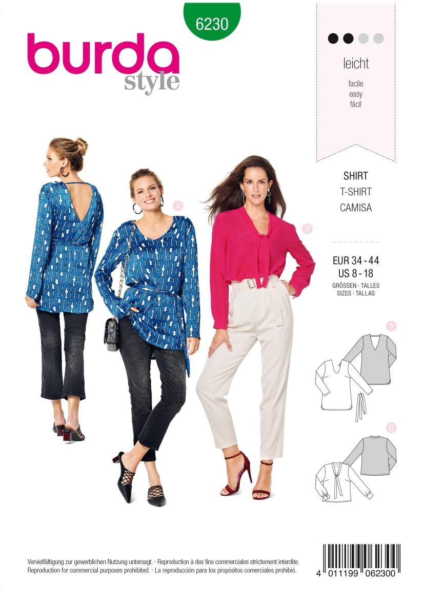 Burda Style Pattern 6230 Misses' Blouse-like Top – V-Neck