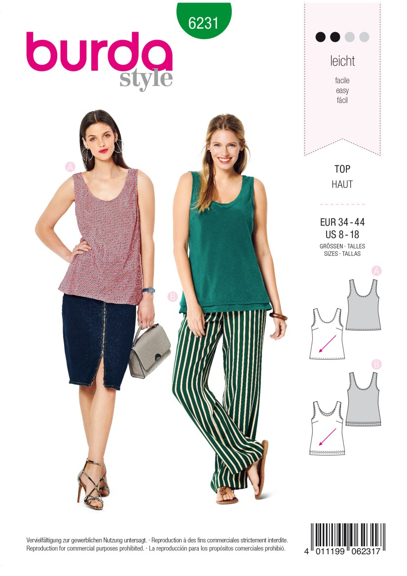 Burda Style Pattern 6231 Misses' Top with Rounded Neckline –  Singe or Double Layer