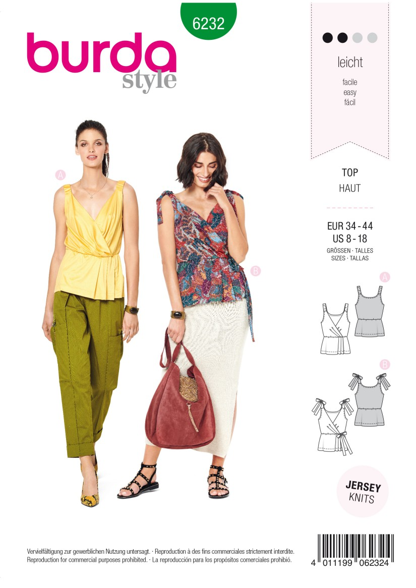 Burda Style Pattern 6232 Misses' Top in Wrap Look – Stretch Straps