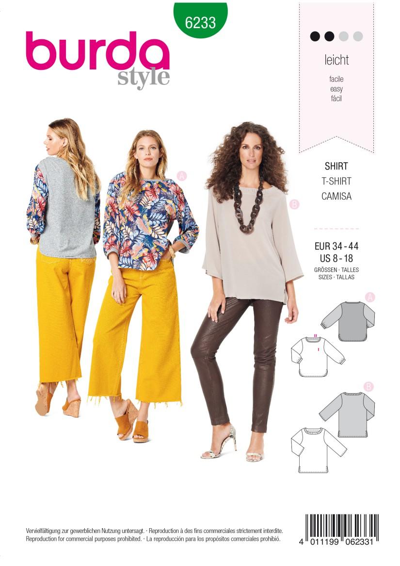 Burda Style Pattern 6233 Misses' Top – Gathered Neckline Band  – 3/4 Sleeves