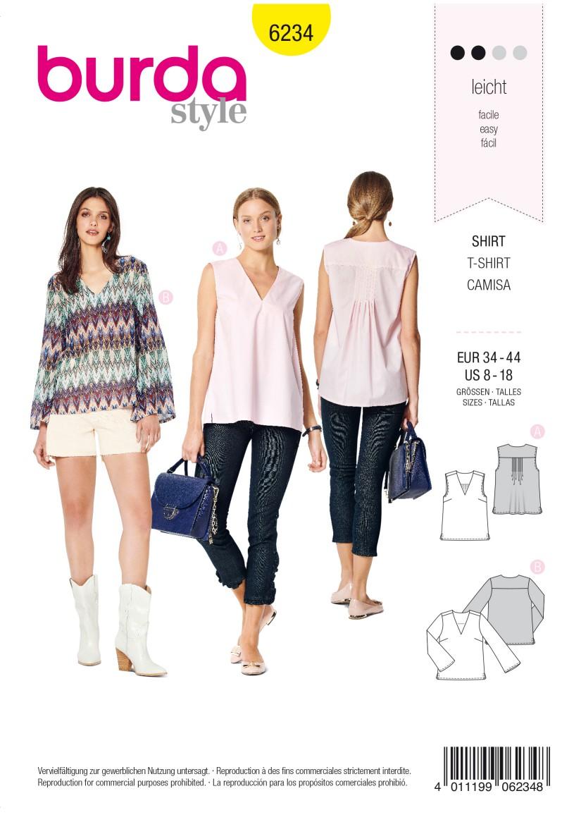 Burda Style Pattern 6234 Misses' Blouse – Top – V-Neck