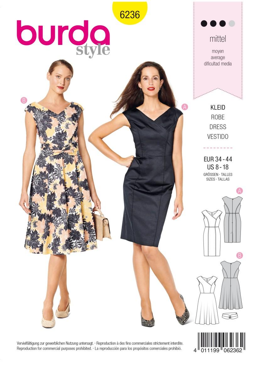 Burda Style Pattern 6236 Misses' Dress in Wrap Look –  V-Neck –  Over-cut Shoulders