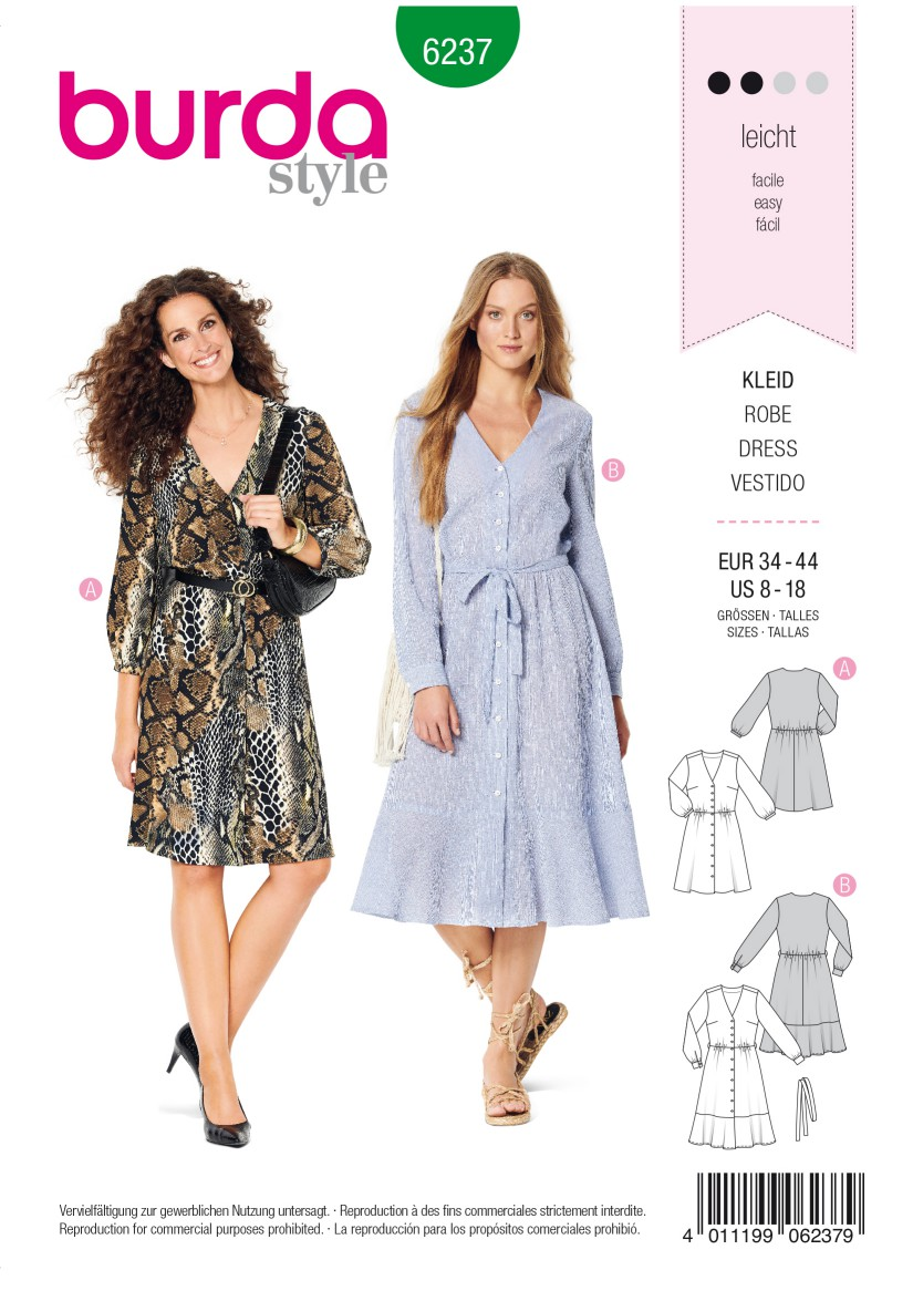 Burda Style Pattern 6237 Misses' Dress with Button Fastening –  Shirt Blouse Style – V-Neck