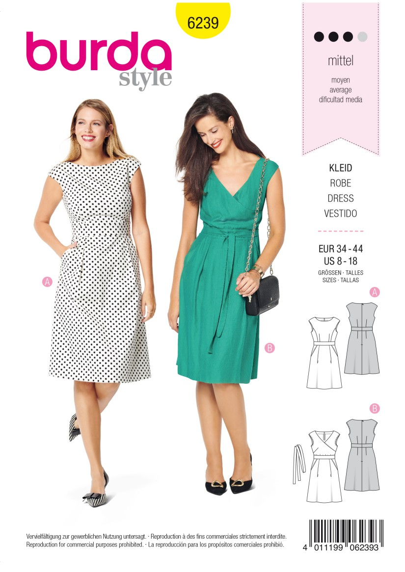 Burda Style Pattern 6239 Misses' Dress with Band at the Waist –  Over-cut Shoulders