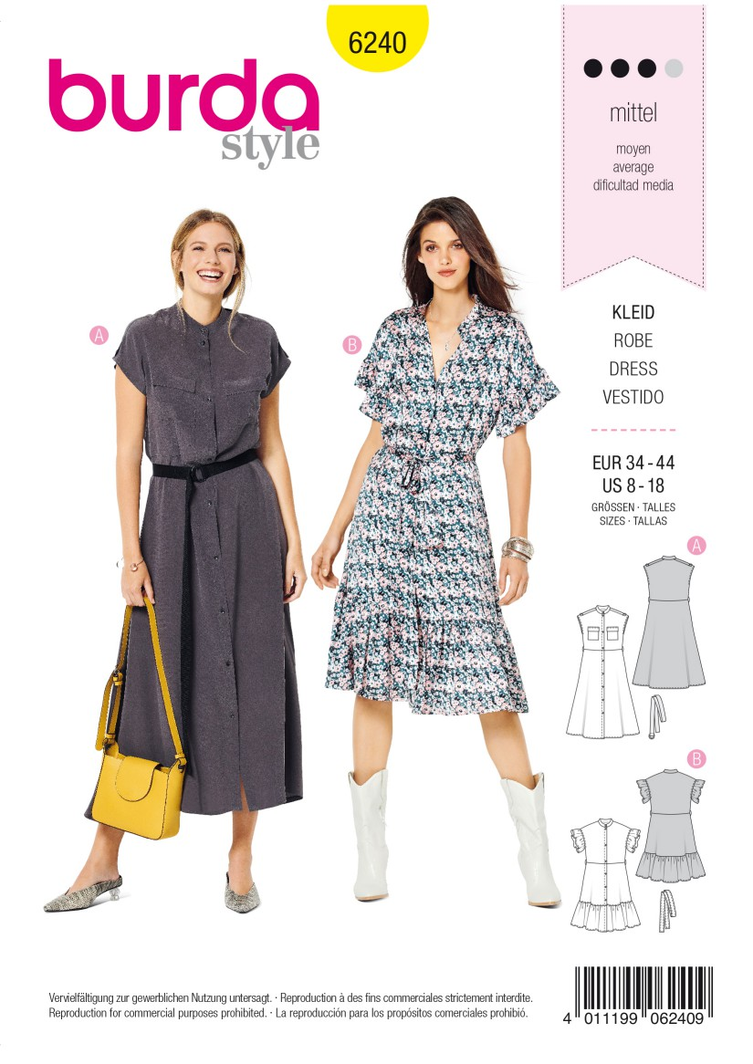Burda Style Pattern 6240 Misses' Dress with Button Fastening –  Stand Collar – Frills