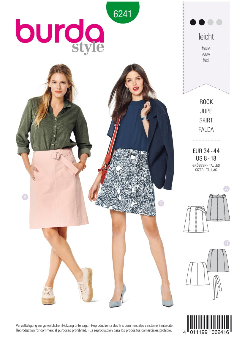 Burda Style Pattern 6241 Misses' Skirt – Flared Skirt –  without Waistband – with Belt