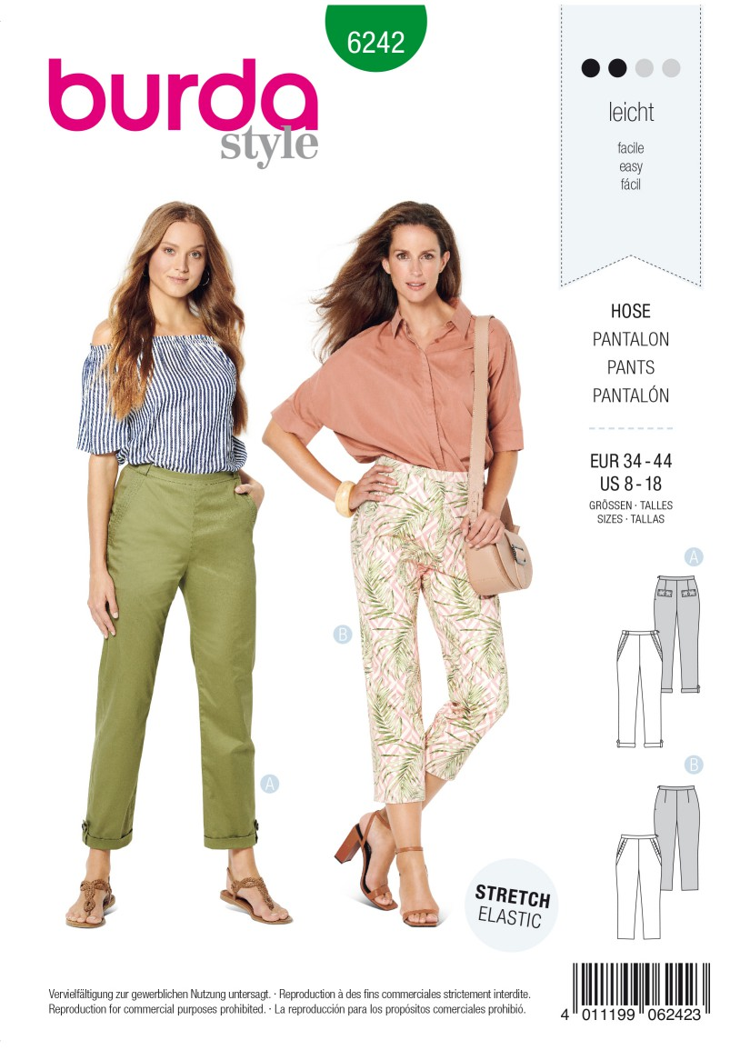 Burda Style Pattern 6242 Misses' Trousers/Pants with Side Zip Fastening  –   Hip Yoke Pockets – Turn
