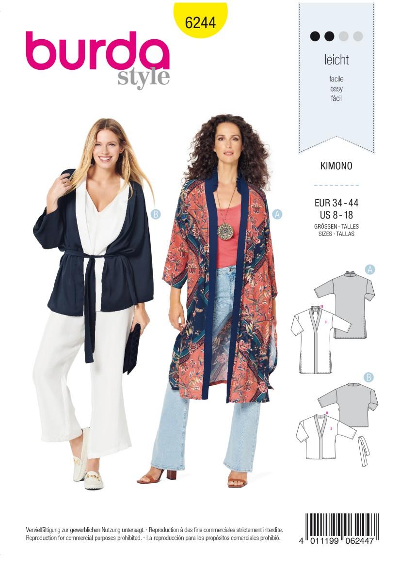 Burda Style Pattern 6244 Misses' Kimono – Coat – Jacket