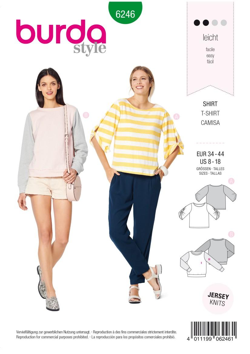 Burda Style Pattern 6246 Misses' Top – Sweatshirt –  Round Neckline –  Sleeves with a Twist
