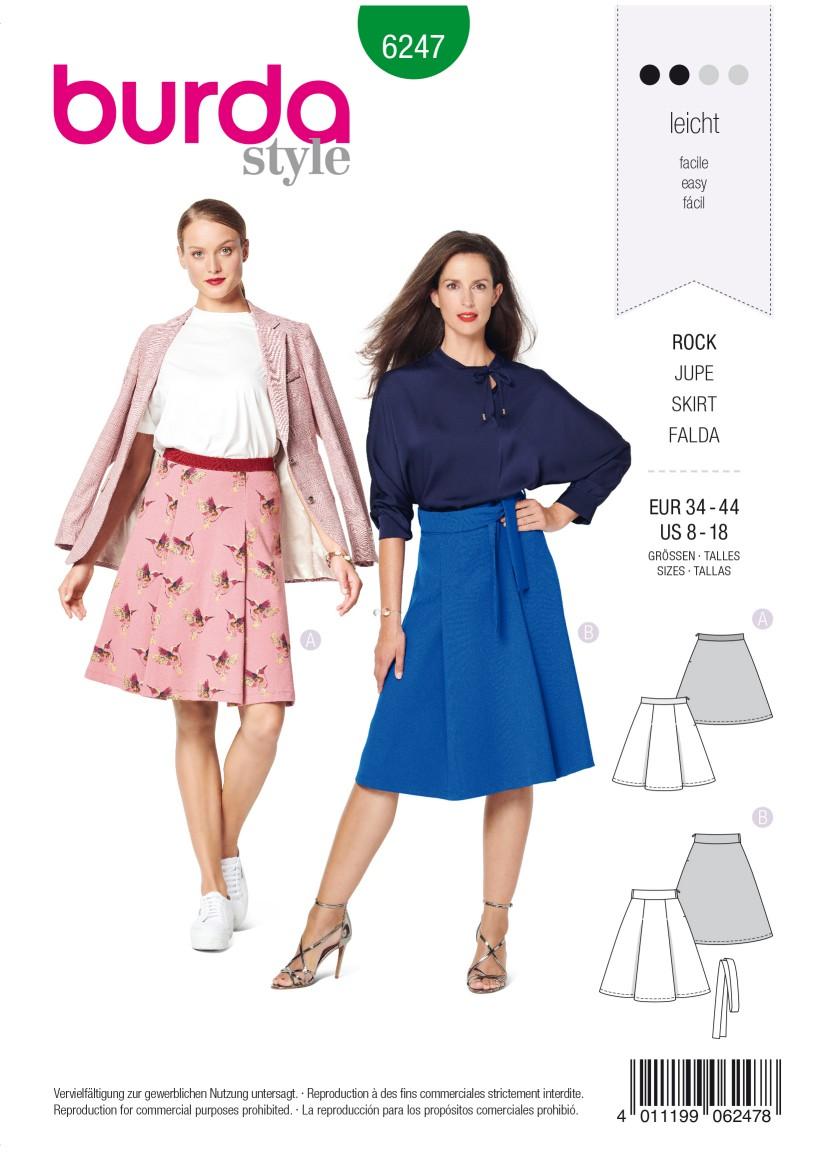 Burda Style Pattern 6247 Misses' Skirt with Pleats –  Flared Shape