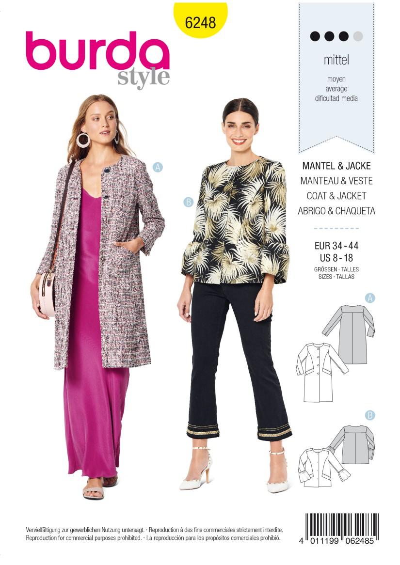 Burda Style Pattern 6248 Misses' Coat – Jacket – Collarless