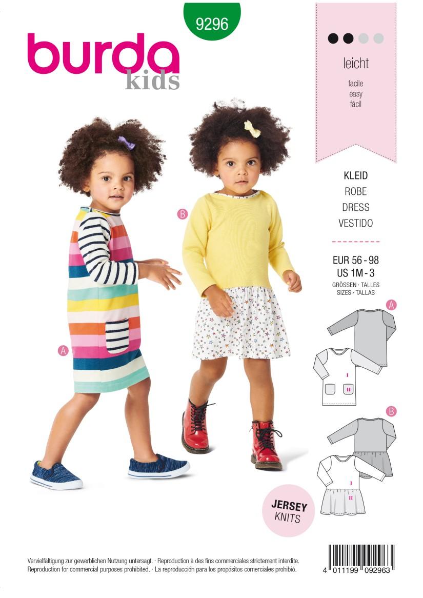 Burda Style Pattern 9296 Babies' Shirtdress with Pockets –  Dress with Gathered Skirt