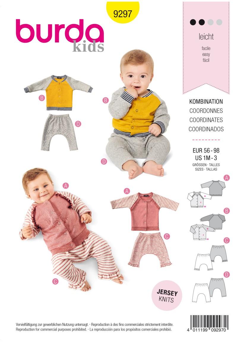 Burda Style Pattern 9297 Babies' Sweatjacket – Raglan Sleeve Jacket with Stand Collar – Pull-on Trou