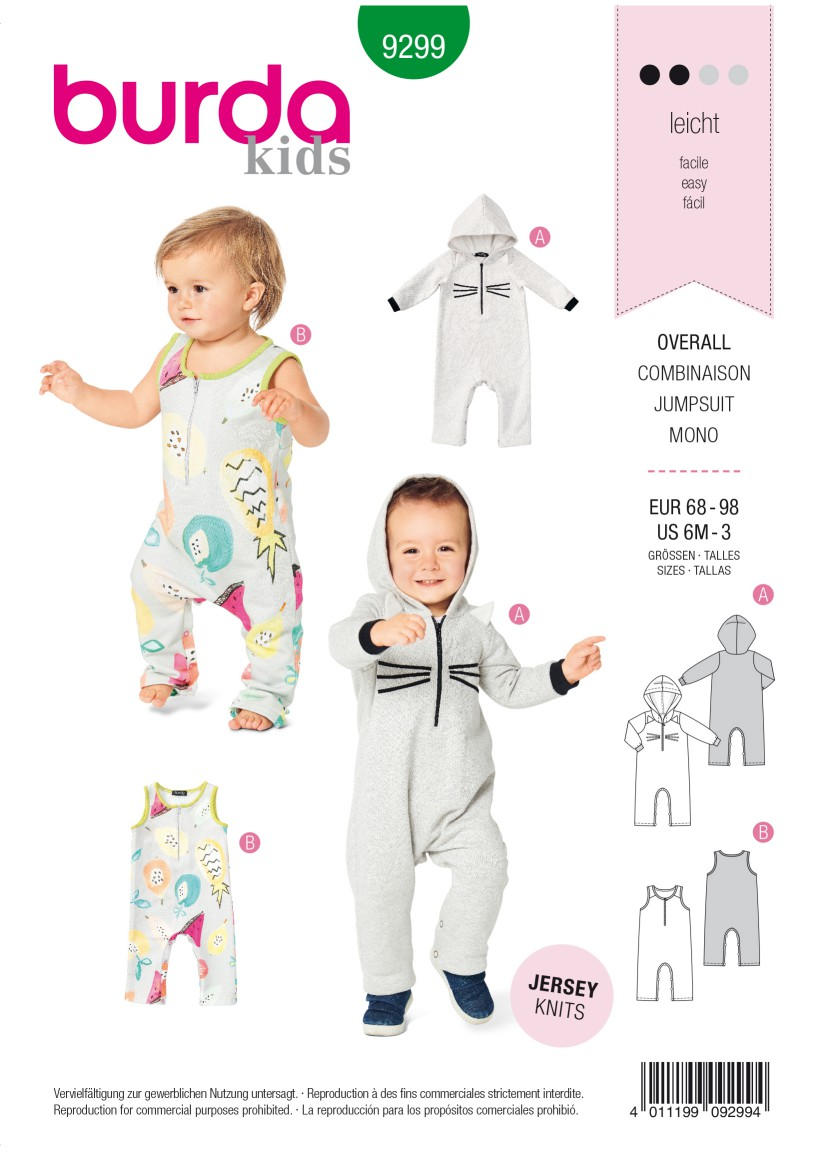 Burda Style Pattern 9299 Toddlers' Overalls – with Hood –  with or without Sleeves – Crotch Fastenin