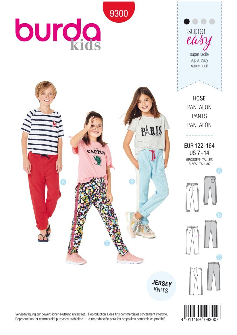 Burda Style Pattern 9300 Children's Jogging Pants – Elastic Waist –  Sweatpants