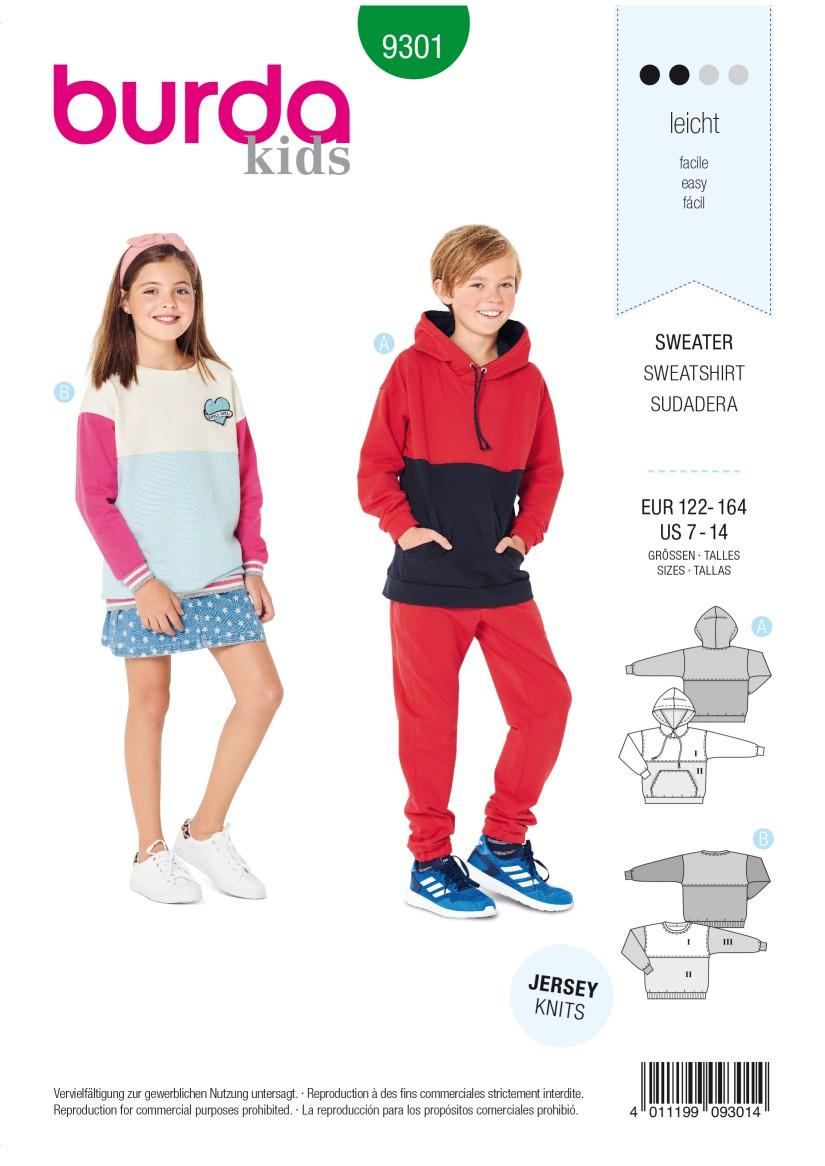 Burda Style Pattern 9301 Children's Sweater – Hoodie –  Hooded Top