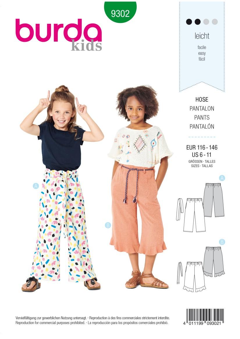 Burda Style Pattern 9302 Children's Pants with Elastic Waist – Culottes –  7/8 Length