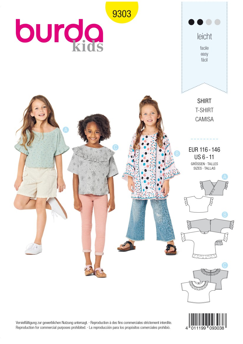Burda Style Pattern 9303 Children's Top with Integral Sleeves –  Tunic Top – Frills