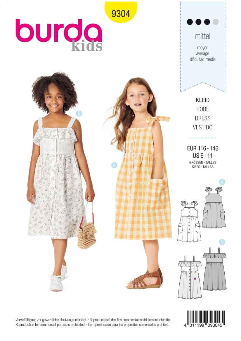 Burda Style Pattern 9304 Children's Pinafore Dress with Front Button Fastening – Gathered Skirt