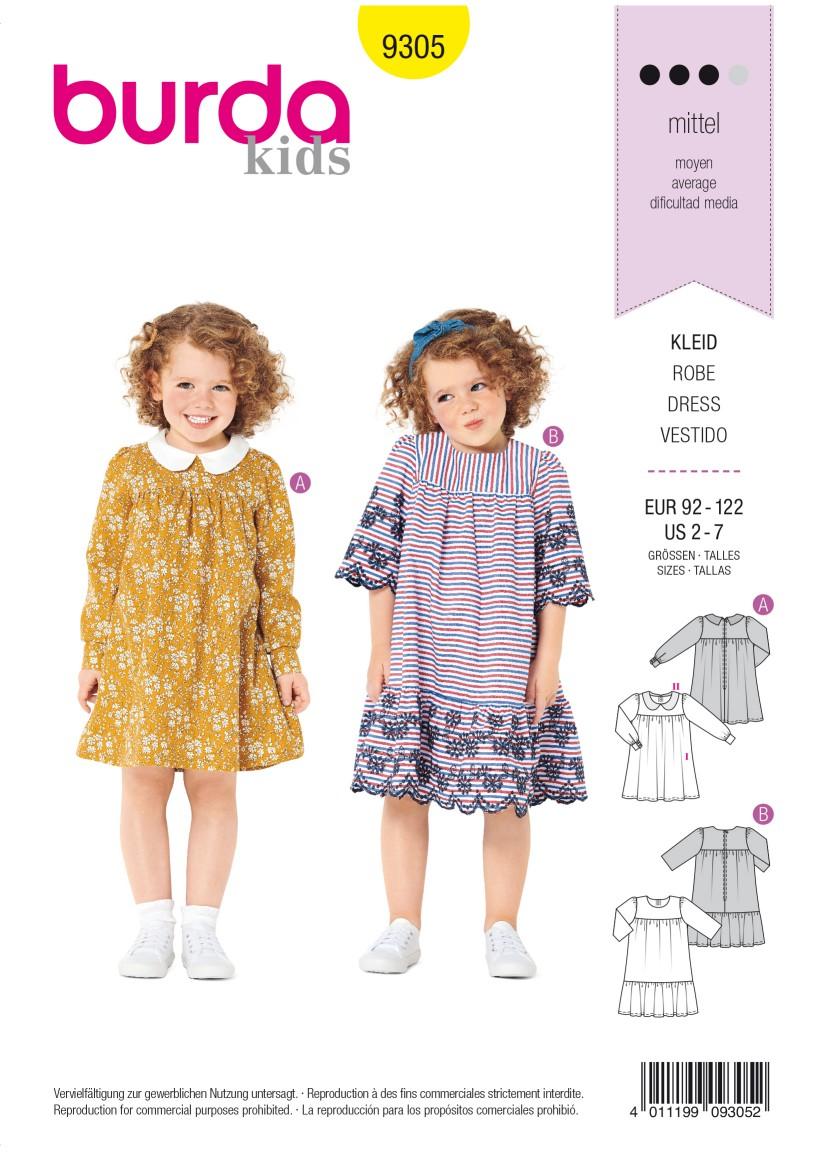 Burda Style Pattern 9305 Children's Dress with Yoke – Peter Pan Collar –  Hem Frill