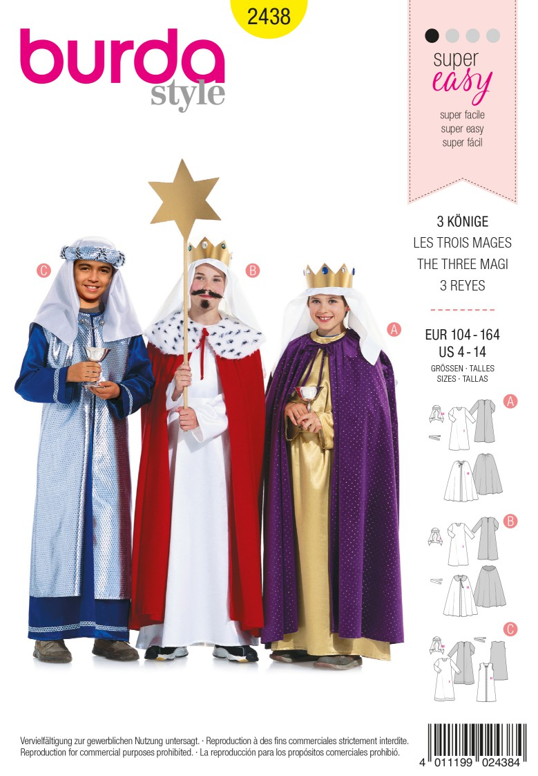 Burda Style B2438 3 Holy Kings Costume Sewing Pattern