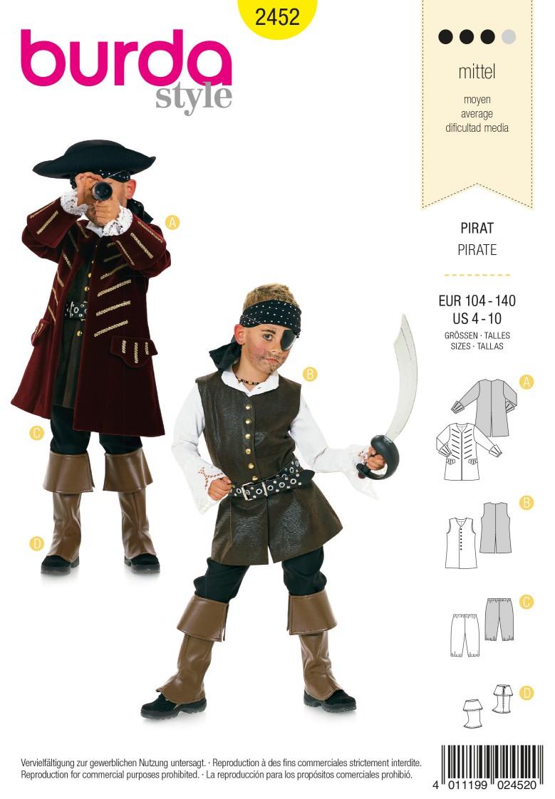 Burda Kids B2452 Pirate Costume Sewing Pattern