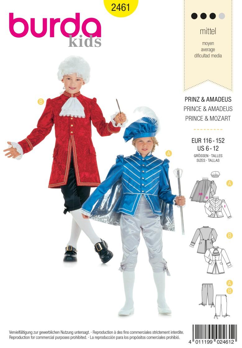 Burda Style Kids B2461 Prince & Mozart Costume Sewing Pattern
