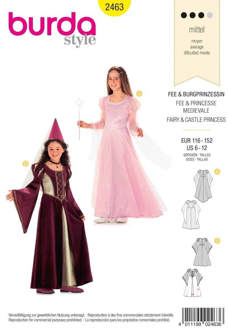 Burda Style B2463 Children's Fairy & Castle Princess Costume Sewing Pattern