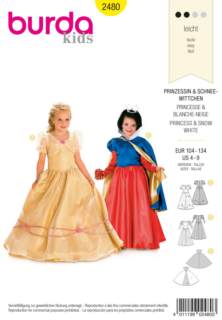 Burda Style B2480 Princess & Snow White Sewing Pattern