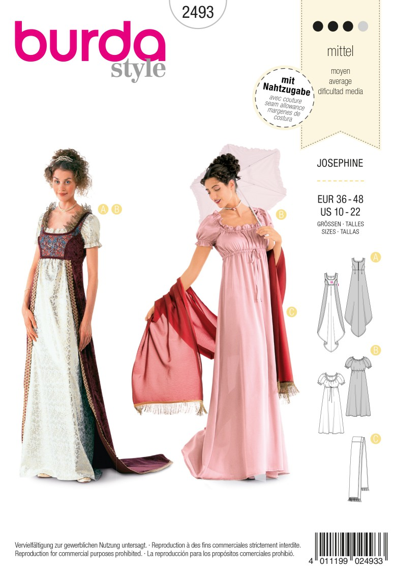 Burda Style B2493 Josephine Costume Sewing Pattern