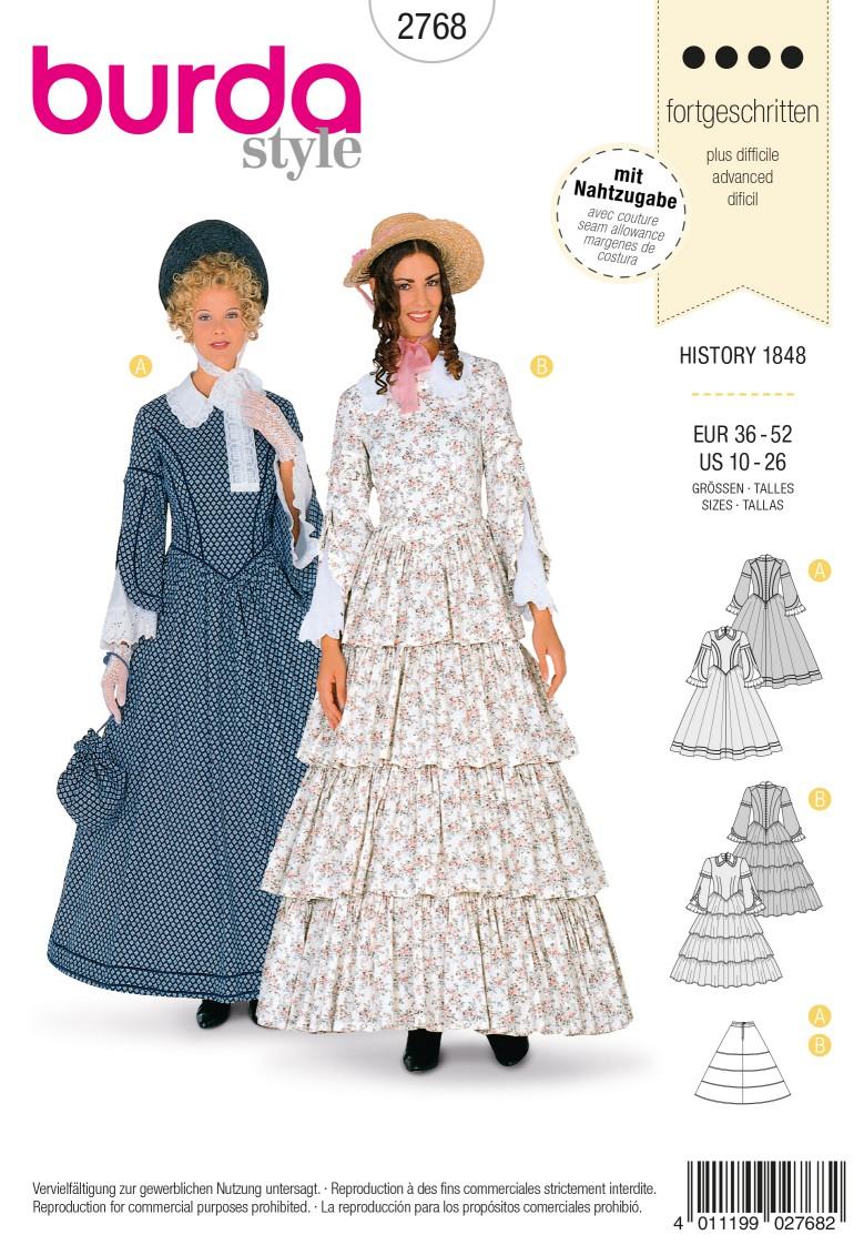 Burda Style B2768 History 1848 Costume Sewing Pattern