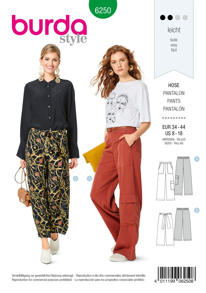 Burda Style Pattern 6250 Misses' Pants, Pull-On with Elastic Waist, Wide Leg, Crop or Full Length