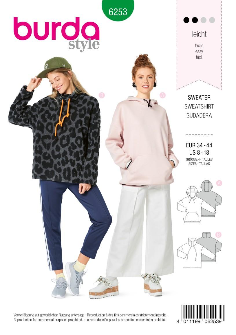 Burda Style Pattern 6253 Misses' Sweatshirts, Hoodie or High Neck, Sleeve and Pocket Variations