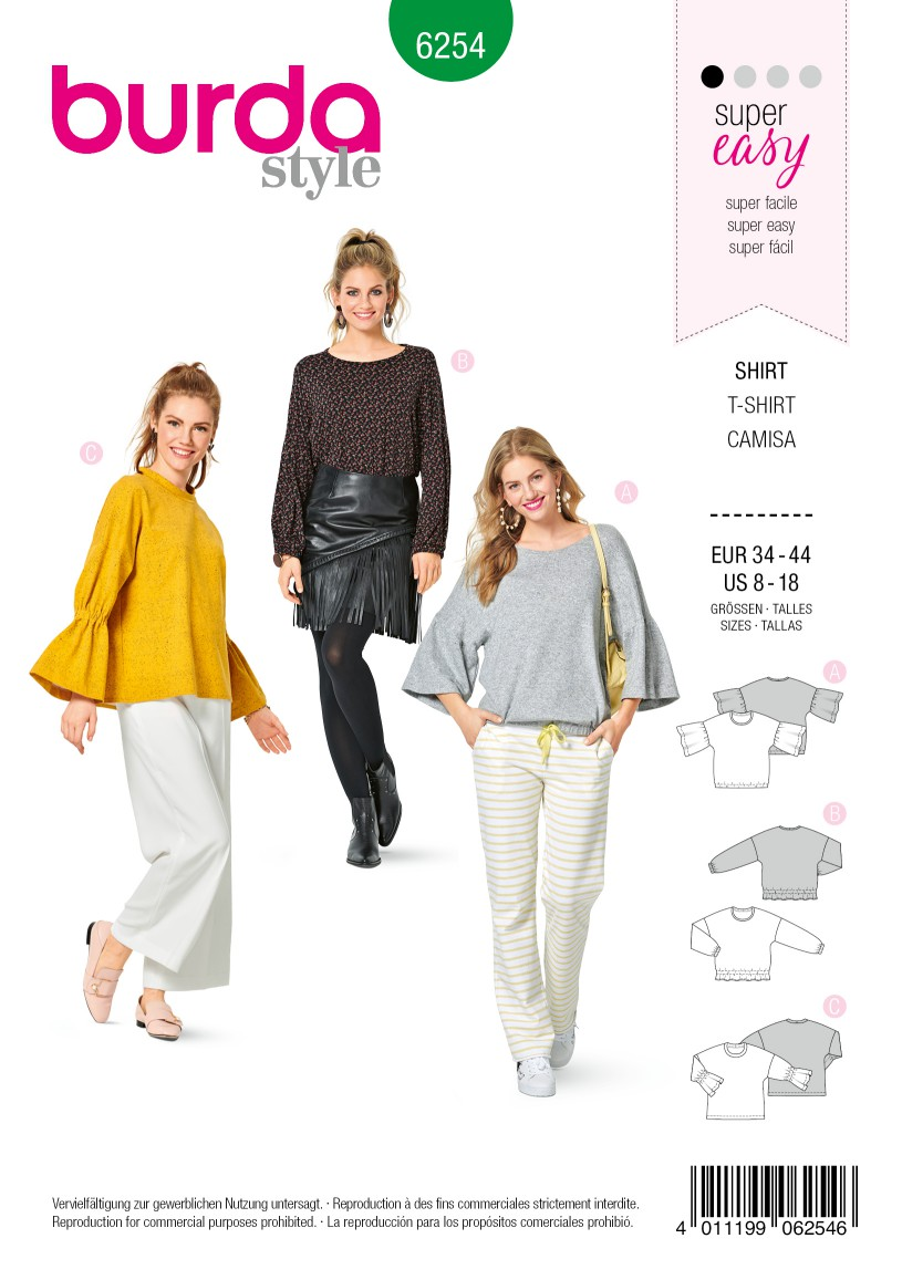 Burda Style Pattern 6254 Misses' Tops Designed for Stretch Knits, with Sleeve Variations