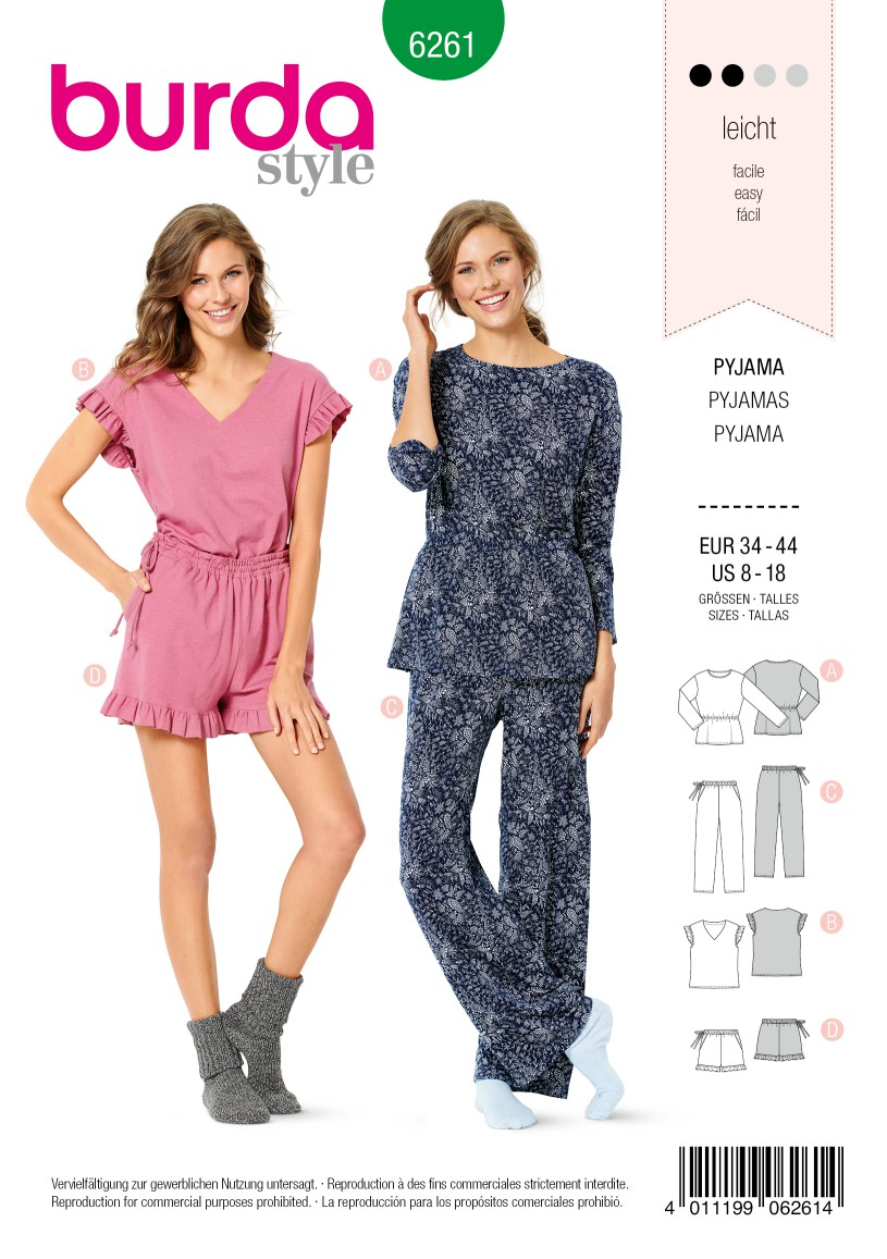 Burda Style Pattern 6261 Misses' Pajamas, Pull-On Pants in Two Lengths, Top in Two Styles