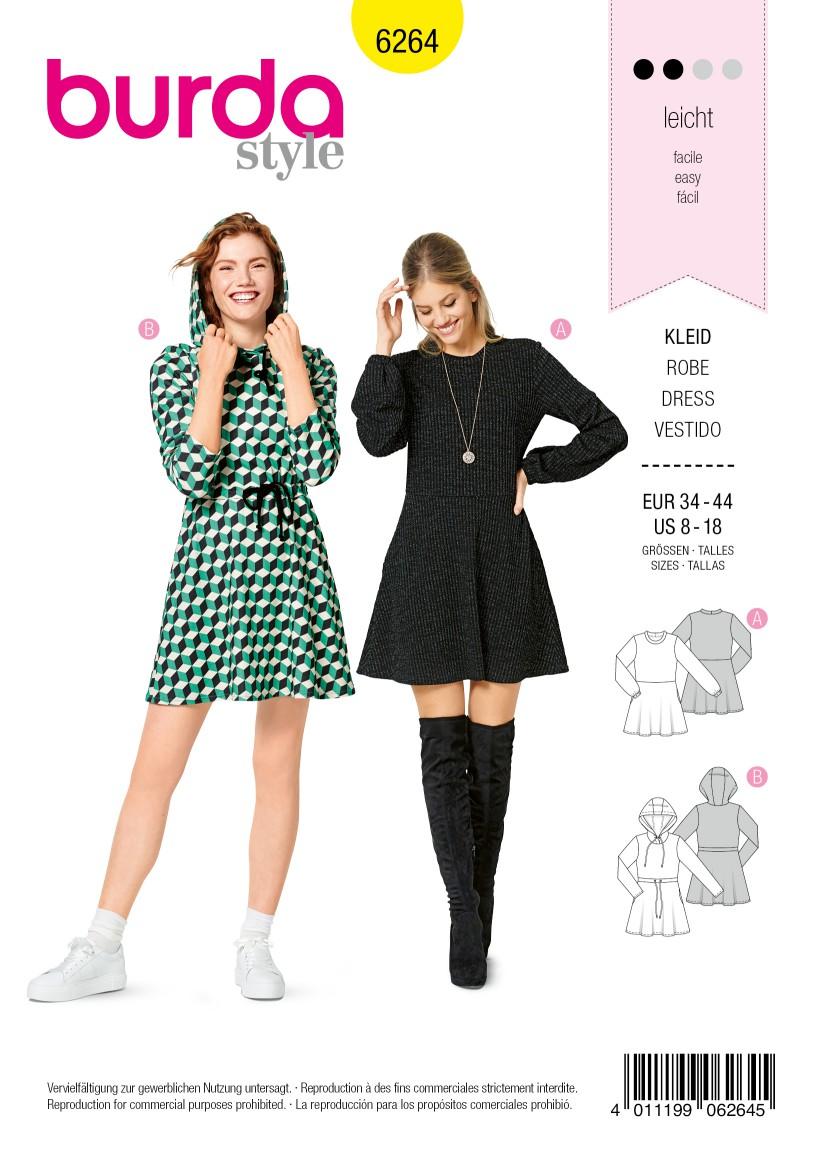 Burda Style Pattern 6264 Misses' Dresses, Pull-On Designed for Knit Fabrics