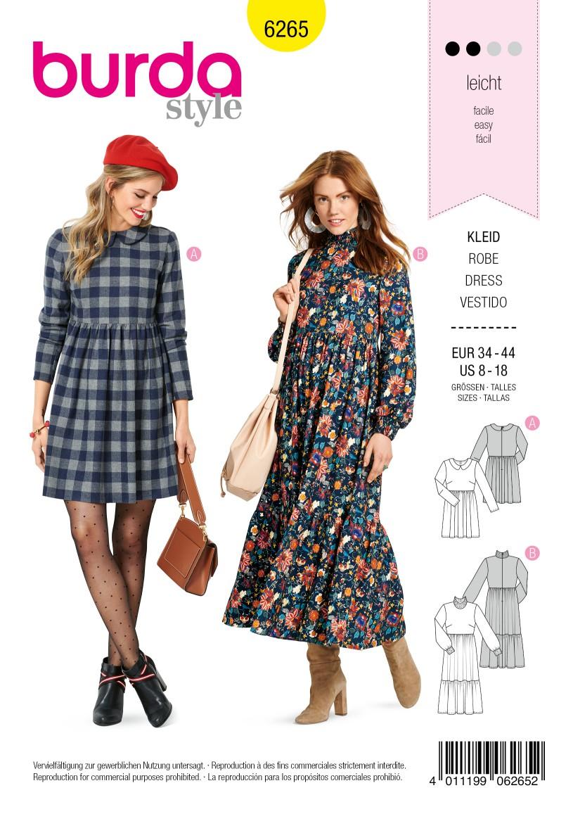 Burda Style Pattern 6265 Misses' DressesShort or Midi Length with Tiered Skirt