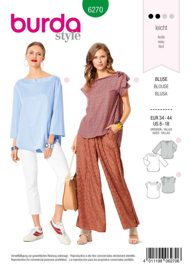 Burda Style Pattern 6270 Misses' Tops, Loose Fitting with Length and Sleeve Options