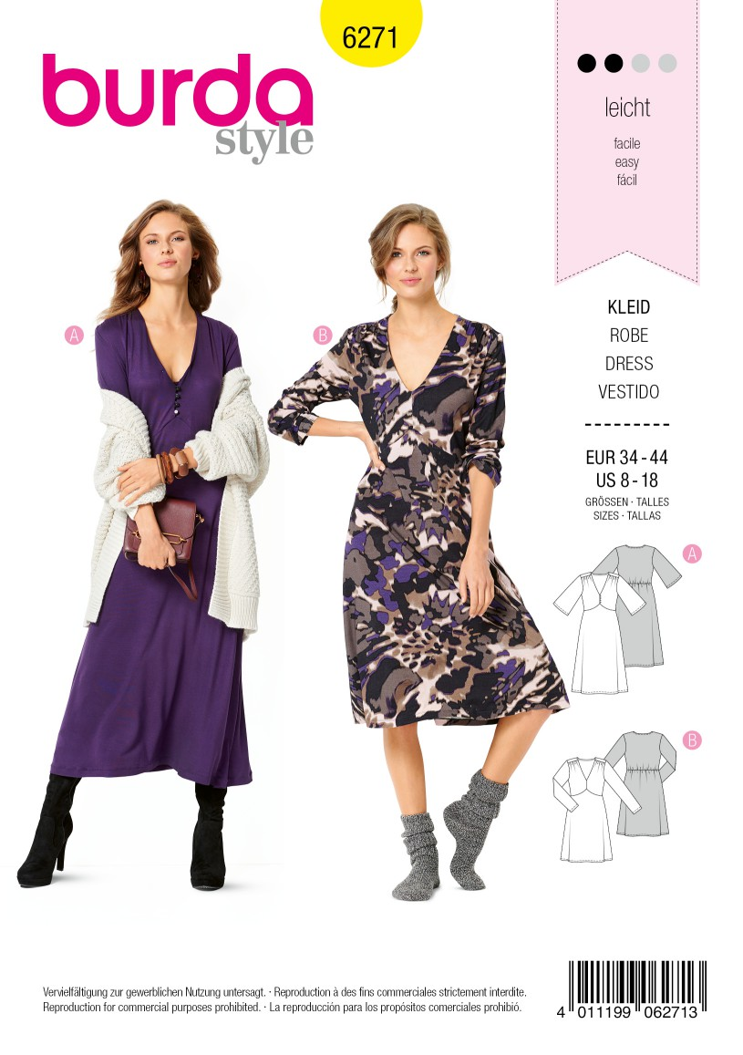 Burda Style Pattern 6271 Misses' Knit Dresses with Empire Line Seaming, Length and Sleeve Options