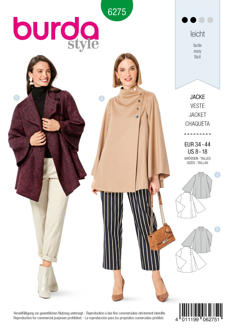 Burda Style Pattern 6275 Misses' Cape-Style Jacket, Unlined with Bell Sleeves