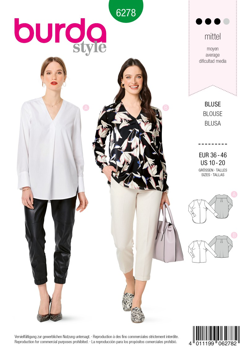 Burda Style Pattern 6278 Women's Blouses Pull-On in Two Lengths