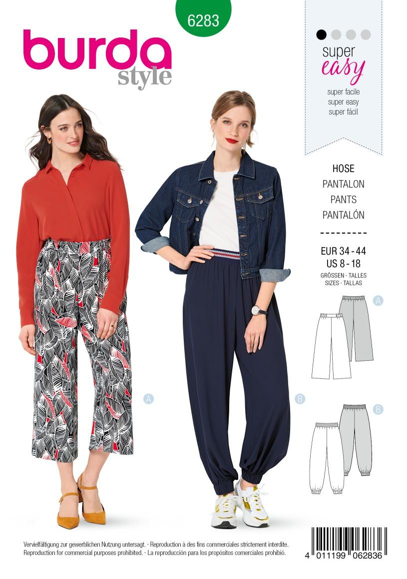 Burda Style Pattern 6283 Misses' Pants, Pull-On, Harem or Cropped Wide-Leg
