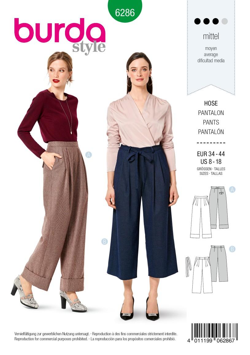 Burda Style Pattern 6286 Misses' Pants Wide Legged, Full Length or Cropped