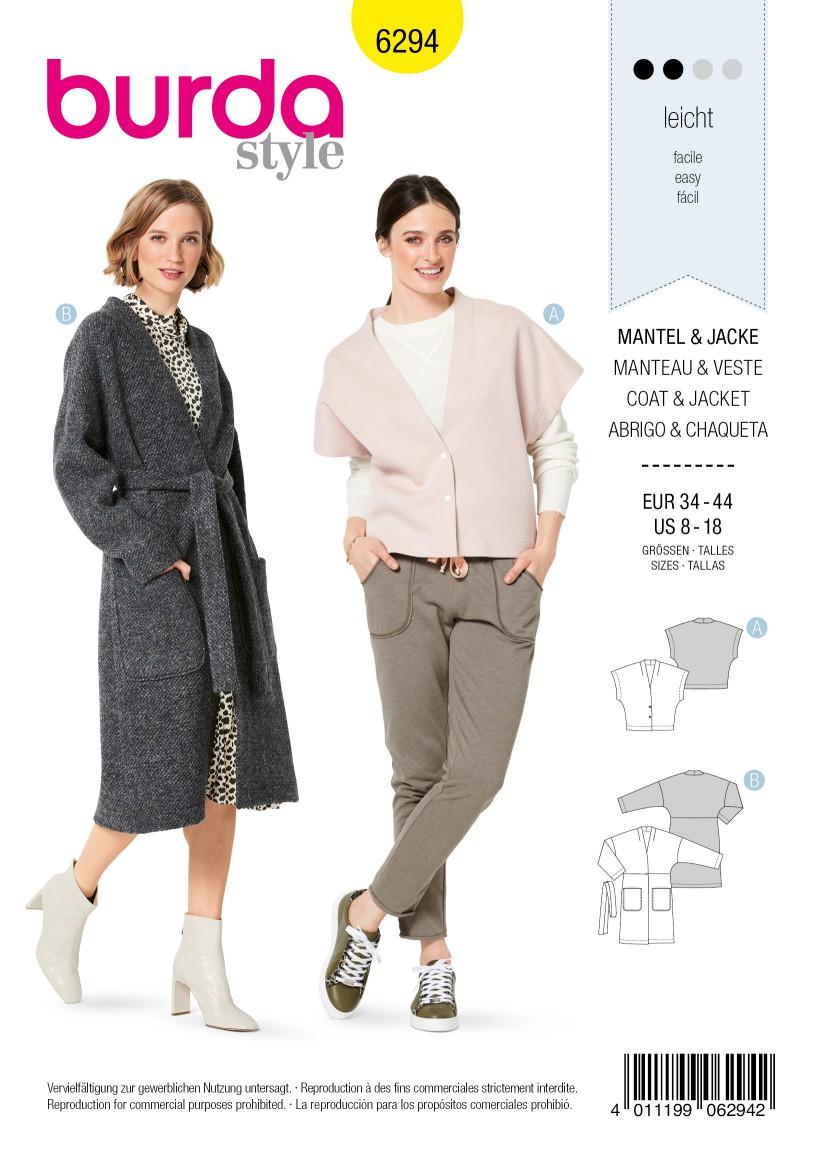 Burda Style Pattern 6294 Misses' Coat and Sleeveless Jacket
