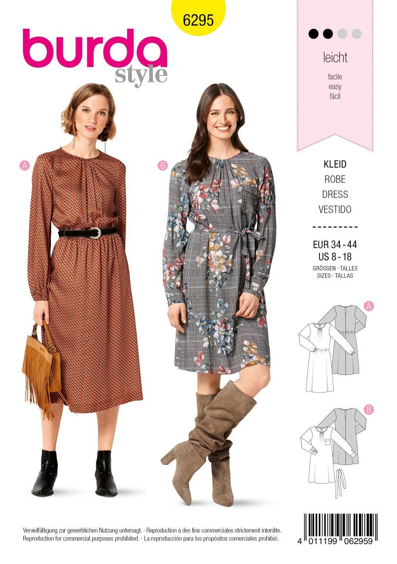 Burda Style Pattern 6295 Misses' Long Sleeve Dresses in Two Lengths