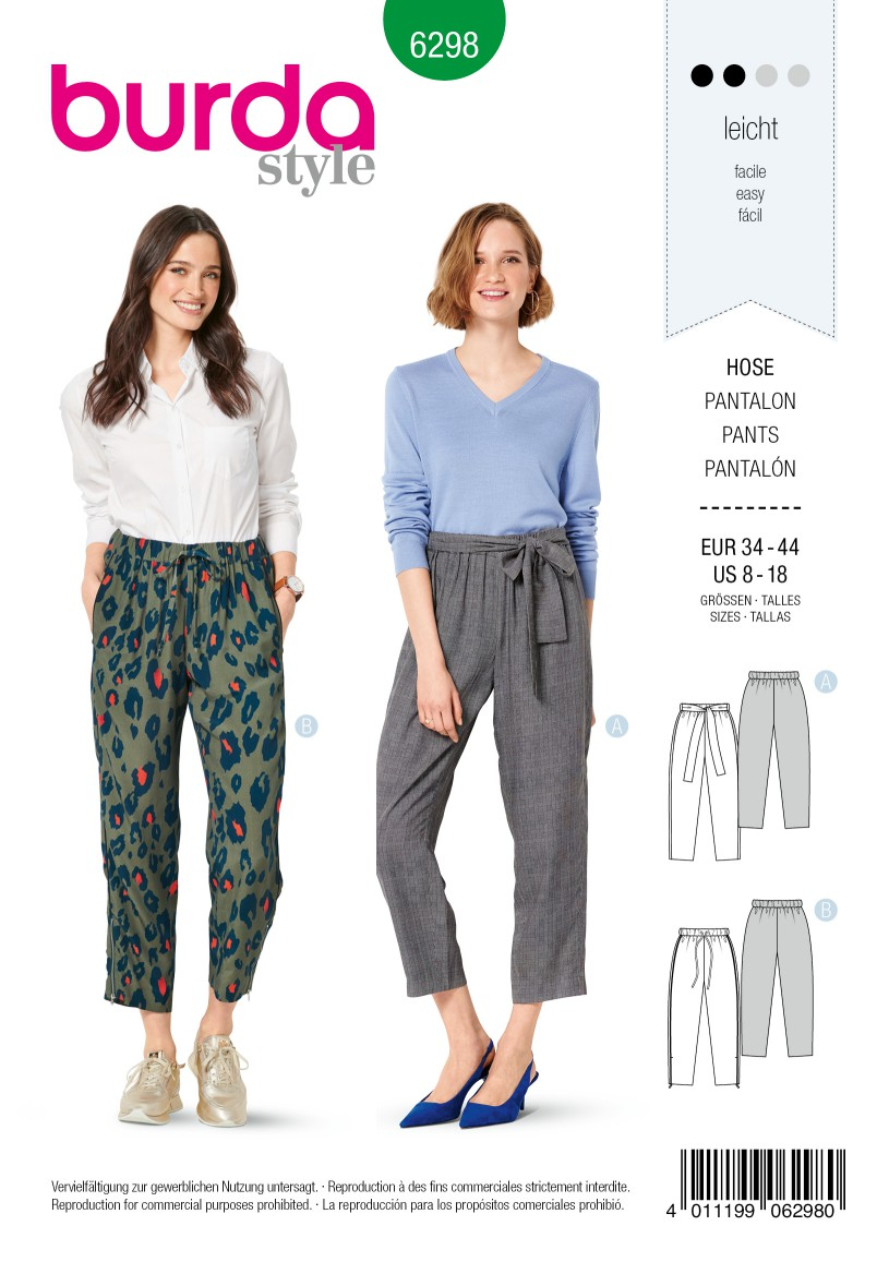 Burda Style Pattern 6298 Misses' Pants, Pull-On with Sash or Tie, Crop Leg with Ankle Zipper Option