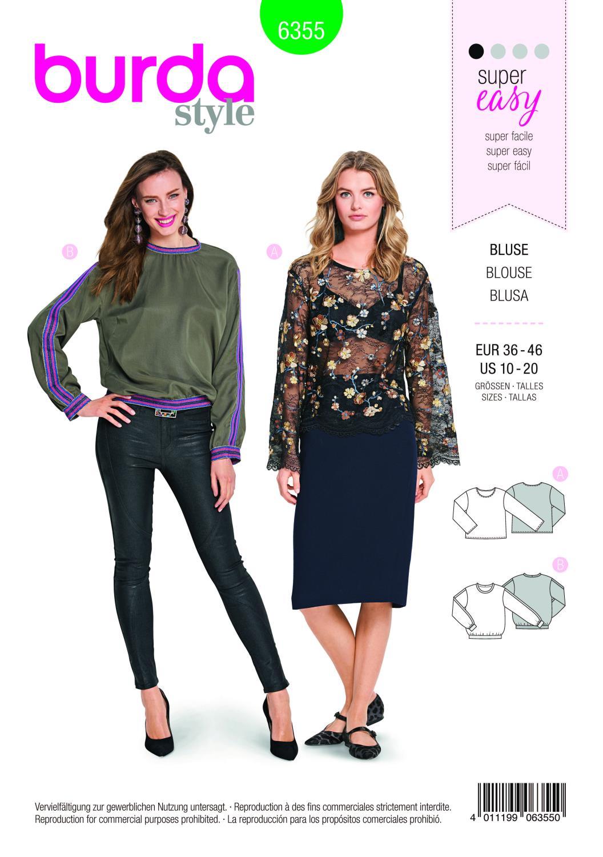 Burda Style Pattern B6355 Women's Shirt Blouse