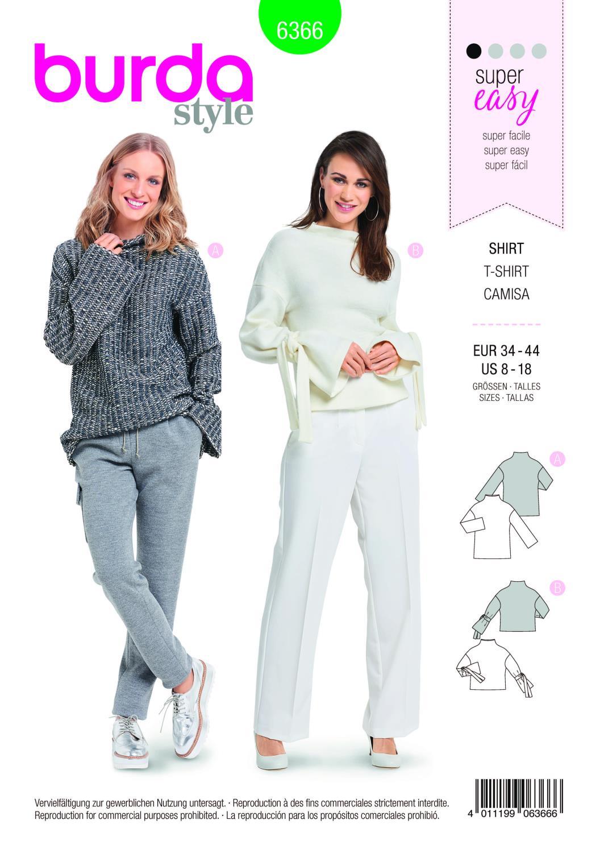 Burda Style Pattern B6366 Women's Easy Tops