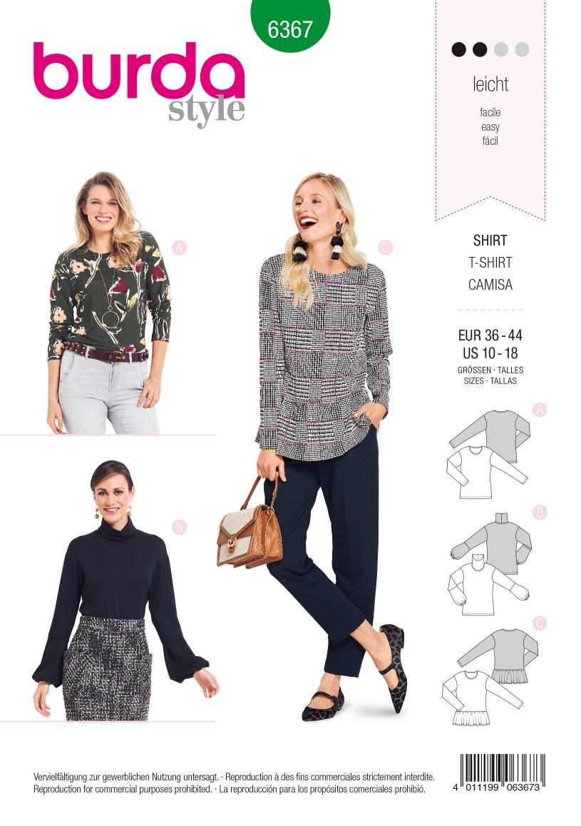 Burda Style Pattern B6367 Women's Tops